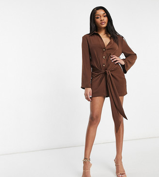 ASOS DESIGN Petite plunge mini drape tie front shirt dress in chocolate
