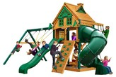 Gorilla Playsets Mountaineer Treehouse Swing Set with Fort Add-On & Timber Shield