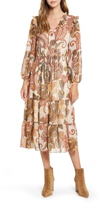 Julia Jordan Long Sleeve Tiered Chiffon Midi Dress