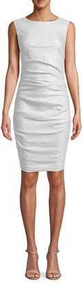 Nicole Miller Lauren Ruched Linen Dress