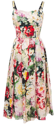 Dolce & Gabbana Gathered Floral-print Silk-organza Midi Dress