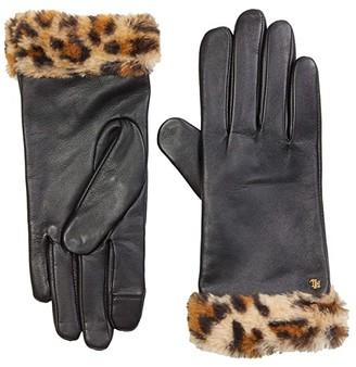 Lauren Ralph Lauren Leather Gloves with Faux Leopard (Leopard/Black) Over-Mits Gloves