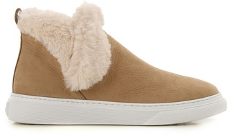 Hogan Fur-Trim Ankle Boots