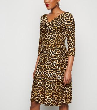 New Look Blue Vanilla Leopard Print Cowl Neck Dress