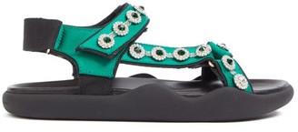 Christopher Kane Fussbett Crystal-embellished Satin Sandals - Green