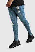 boohoo Mens Blue Big And Tall Raw Hem Skinny Jean, Blue