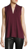 Vince Camuto Pleated-Neck Sleeveless Top, Wine