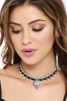 LuLu*s Namaste, If I May Silver and Turquoise Layered Choker Necklace