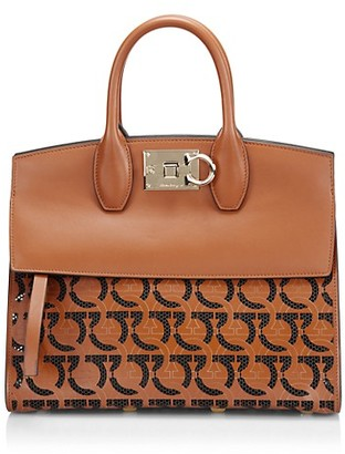 Salvatore Ferragamo Studio Gancini-Print Leather Top Handle Bag