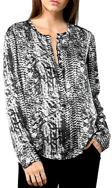 Go Silk Go by Printed Henley Blouse