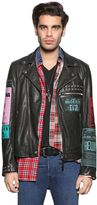 Diesel Leather Biker Jacket W/ Patches & Studs