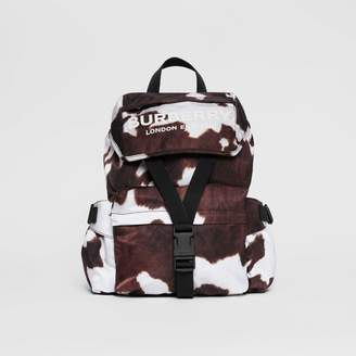 Burberry Cow Print Nylon Backpack