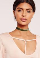 Missguided Skinny Velvet Choker Necklace Khaki