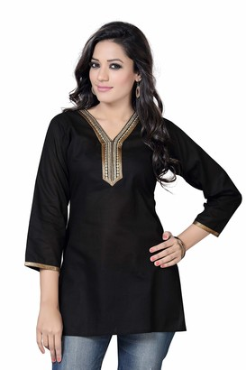 Stars Boutique Ladies Kurti Tunic Blouse Top - Next Day Delivery (XXLarge(16/18)) Black
