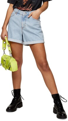 Topshop Roll Hem Mom Denim Shorts