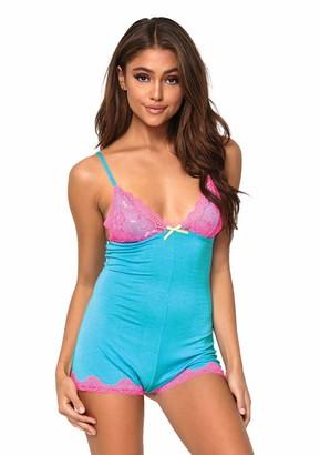Leg Avenue Boyshort Jersey Romper Womens Sleepwear Neon Pink/Turquoise