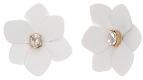Christian Siriano New York Gold Tone and White Flower Button Clip Earrings