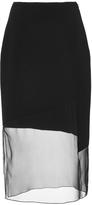 Prabal Gurung Black Crepe Chiffon Combo Pencil Skirt