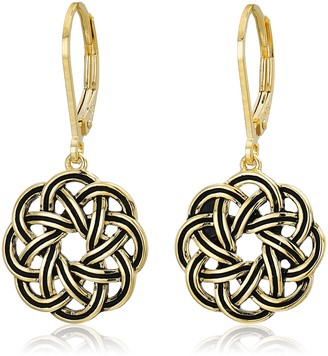 Celtic 18k Yellow Gold Plated Sterling Silver Knot Leverback Dangle Earrings
