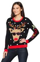 Blizzard Bay Women's Light Up Reindeer Crew Neck Christmas Sweater