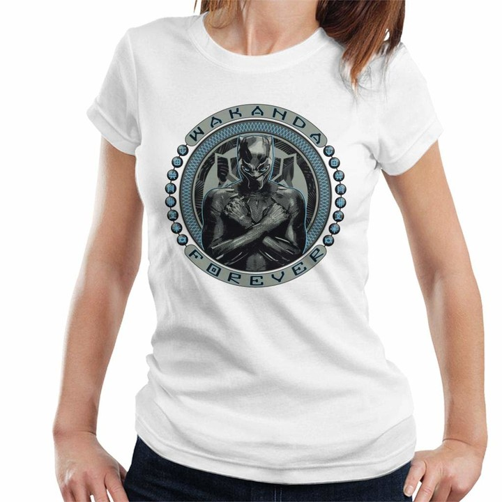 Thumbnail for your product : Marvel Black Panther Wakanda Forever Symbol Circle Women's T-Shirt