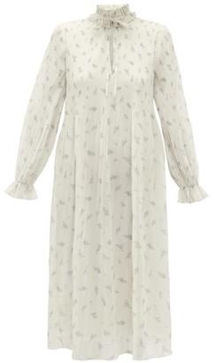Ganni Floral-print Plisse Georgette Midi Dress - Cream