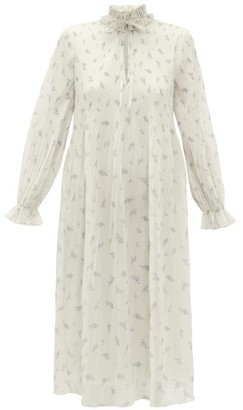 Ganni Floral-print Plisse Georgette Midi Dress - Womens - Cream