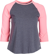 Soffe Heather Gray & Pink Curve Baseball Tee - Plus