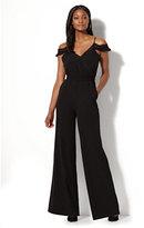 New York & Co. Lace-Trim Cold-Shoulder Jumpsuit
