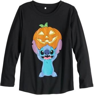 Disney Disney's Lilo & Stitch Girls 7-16 & Plus Size Stitch Holds Pumpkin Long Sleeve Graphic Tee