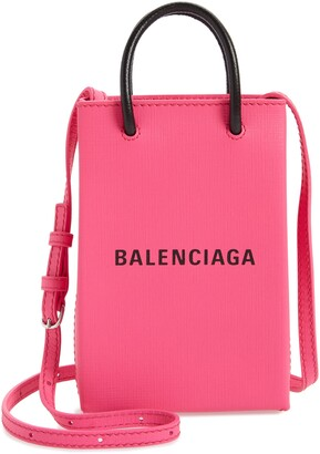 Balenciaga Shopping Leather Crossbody Phone Bag