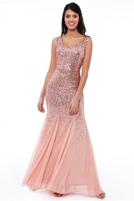 Goddiva Peach Sequin and Chiffon Maxi Dress