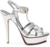 Saint Laurent Tribute 105MM Metallic Leather Platform Sandals