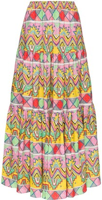 Mira Mikati Abstract Print Maxi Skirt