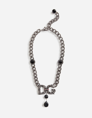 Dolce & Gabbana Link Necklace With Logo And Rhinestone-Detailed Pendant