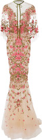 Marchesa Floral Embroidered Dress With Capelet