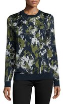 Jason Wu Long-Sleeve Printed Pullover, Navy/Basil/Chalk