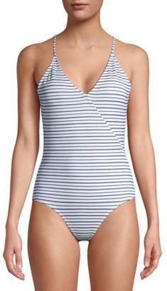 Vigoss Women's One-Piece Laser Cut Swimsuit with Plunge Back