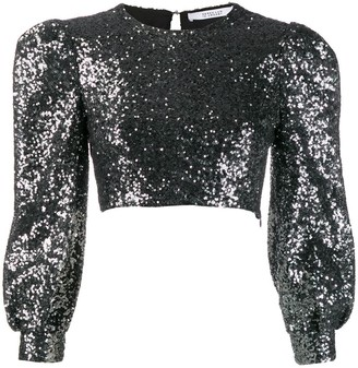 Derek Lam 10 Crosby Sofia Cropped Baby Sequin Bell Sleeve Mesh Top