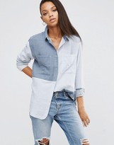 Asos Oversized Twill Shirt in Color Block