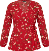 City Chic Red Floral Top