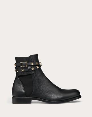 Valentino Rockstud Grainy Calfskin Leather Ankle Boot Women Black 35.5
