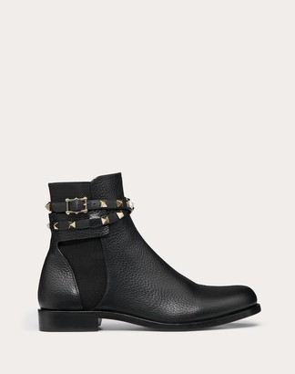 Valentino Rockstud Grainy Calfskin Leather Ankle Boot Women Black 40