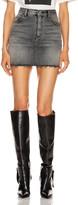 Saint Laurent Classic Destroyed Denim Skirt in Medium Carbon | FWRD
