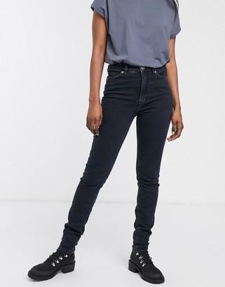 Monki Oki organic cotton high waist skinny jeans in dark blue