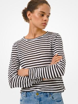 MICHAEL Michael Kors Striped Linen Long-Sleeve T-Shirt