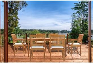 "Chic Teak 7 Piece Teak Wood Bermuda 71"" Rectangular Large Bistro Dining Set including 6 Arm Chairs"