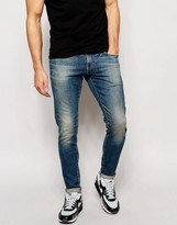 G Star G-Star Jeans Defend Super Slim Skinny Fit Wils Stretch Mid Wash