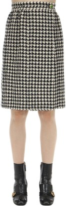 Gucci WOOL BLEND HOUNDSTOOTH MIDI WRAP SKIRT