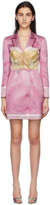 Moschino Pink & Beige Linen Inside Out Trompe-l'il Blazer Dress